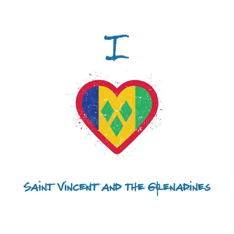 J'aime le T-shirt de Vincent And The Grenadines de saint illustration libre de droits