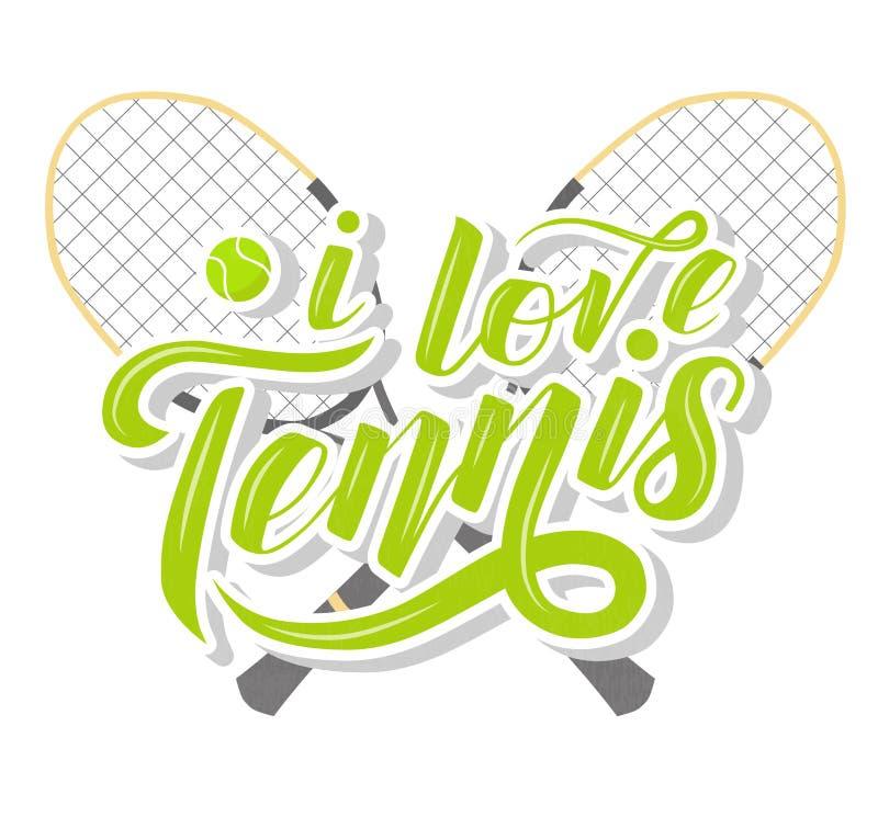 J'aime le texte fait sur commande de lettrage de tennis avec des racets de tennis et la boule sur le fond blanc, illustration illustration de vecteur