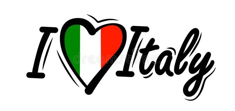 J'aime le vecteur de l'Italie illustration de vecteur