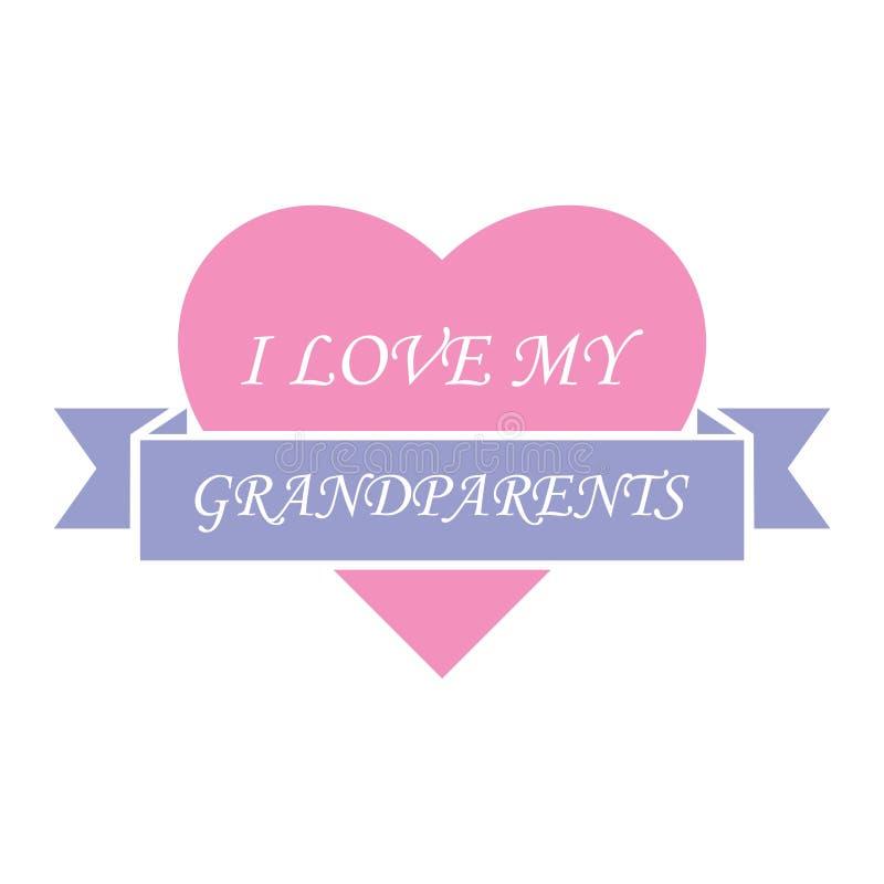 J'aime ma conception de célébration de grands-parents illustration libre de droits
