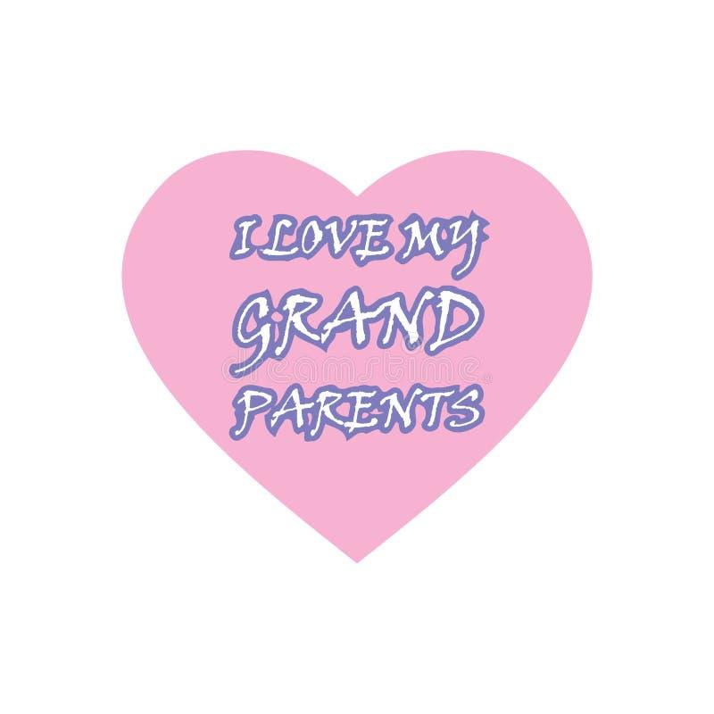 J'aime ma conception de célébration de grands-parents illustration de vecteur