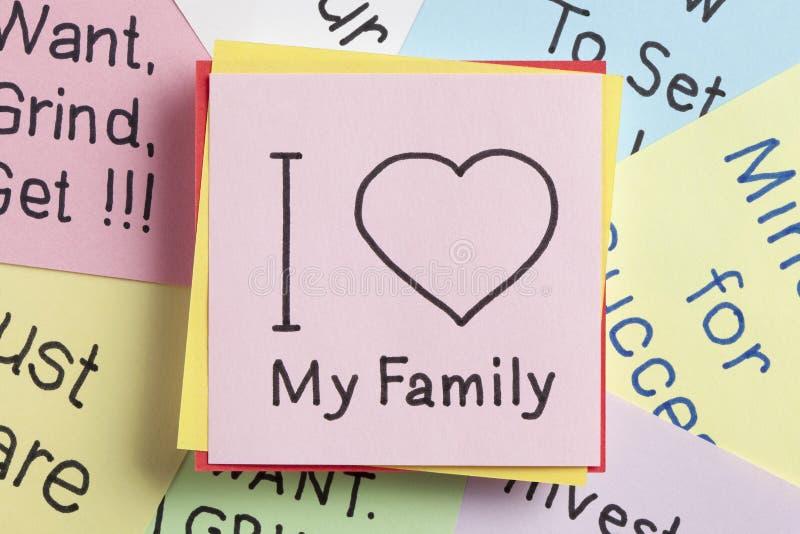J'aime ma famille écrite sur une note image stock