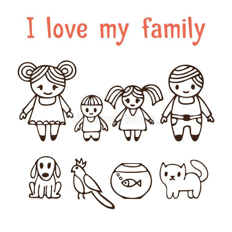 J'aime ma famille Famille heureuse avec deux enfants dans le styl de bande dessinée illustration de vecteur