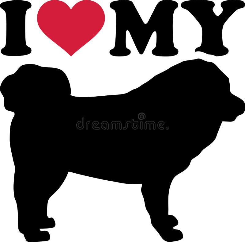 J'aime ma silhouette de mastiff tibétain illustration libre de droits