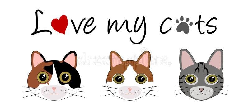 J'aime mes chats illustration de vecteur
