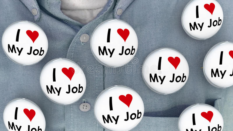 J'aime mes goupilles de Job Buttons Pins Working Career illustration libre de droits