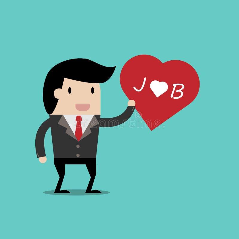 j'aime mon travail pour le concept d'investissement, homme d'affaires de bande dessinée avec le coeur dans sa main de montrer à a illustration libre de droits