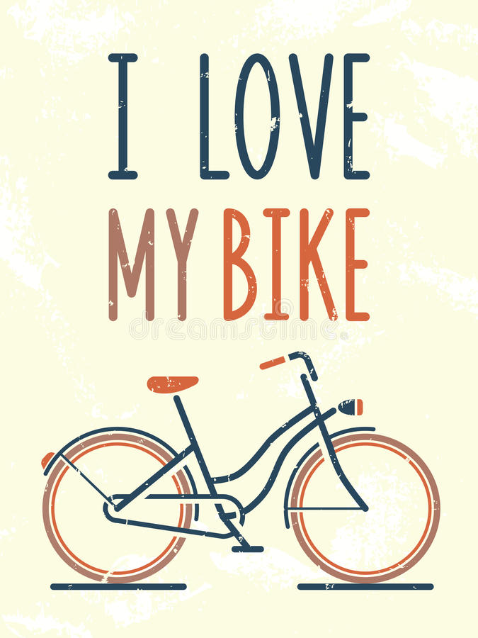J'aime mon vélo illustration stock