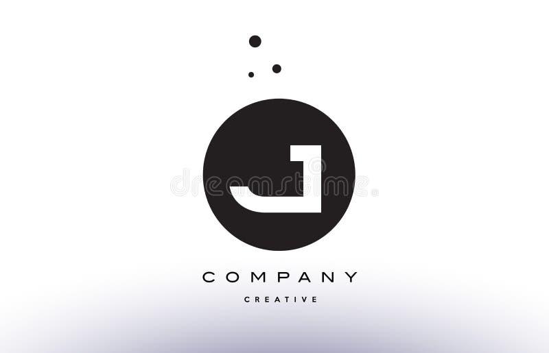 J Alphabet Letter Logo Icon Simple Black White Circle Dots Stock