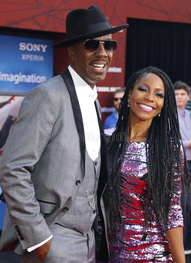 J.B. Smoove, Shahidah Omar. J.B. Smoove and Shahidah Omar at the World premiere of `Spider-Man Far From Home` held at the TCL Chinese Theatre in Hollywood, USA stock photos
