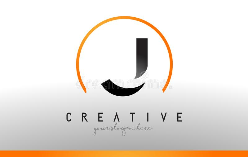 J-bokstav Logo Design med svart orange färg Kall modern symbol T royaltyfri illustrationer