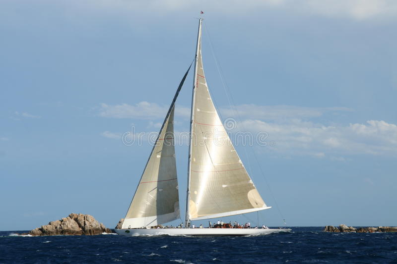 J-Class Maxi Yacht Ranger. During Rolex Maxi Race 2010 in Sardinia royalty free stock images