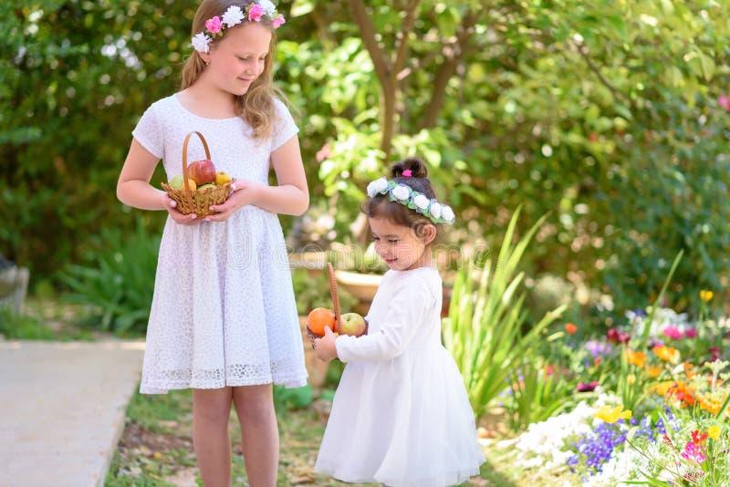 J?discher Feiertag Shavuot Kleine M?dchen HarvestTwo im wei?en Kleid h?lt einen Korb mit frischer Frucht in einem Sommergarten lizenzfreies stockfoto