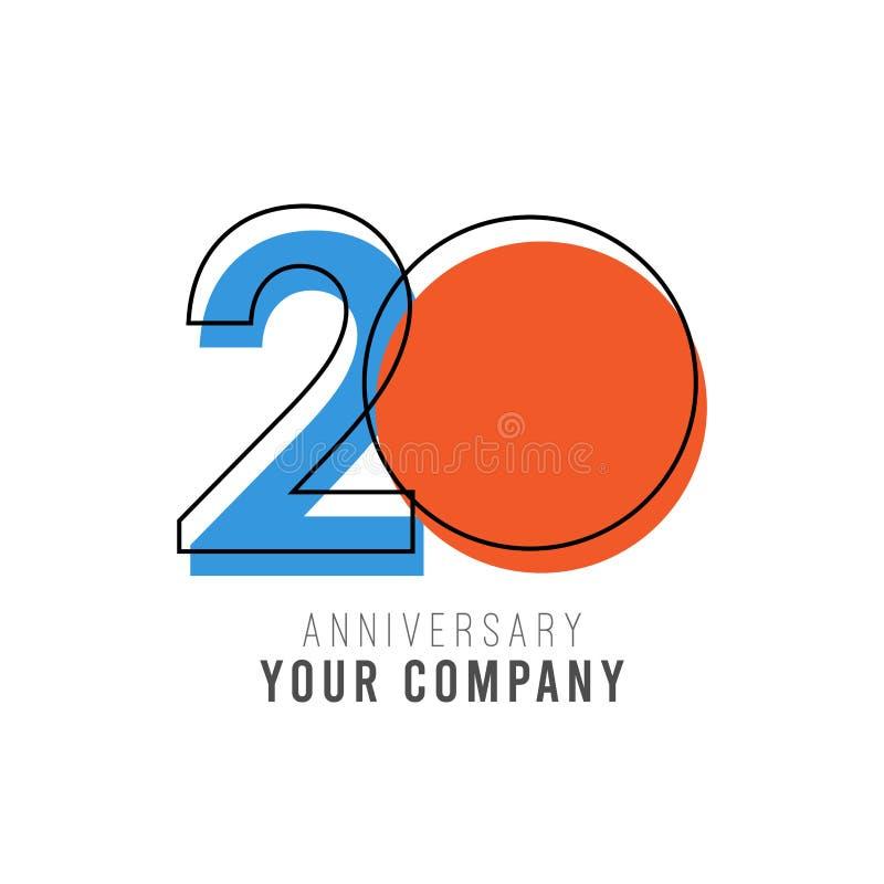 20-j?hrige Jahrestags-Vektor-Schablonen-Design-Illustration lizenzfreie abbildung