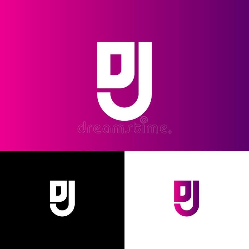 J jako osłona i D, J gęste linie monogram Sie?, interfejs u?ytkownika ikona ilustracji