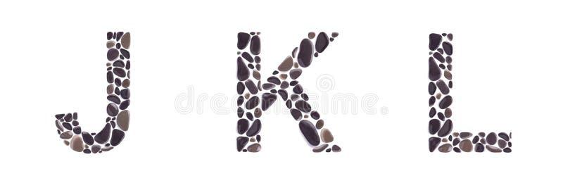 J, K und L Buchstaben machten von den Steinen, die auf weißem Hintergrund lokalisiert wurden lizenzfreie stockfotos