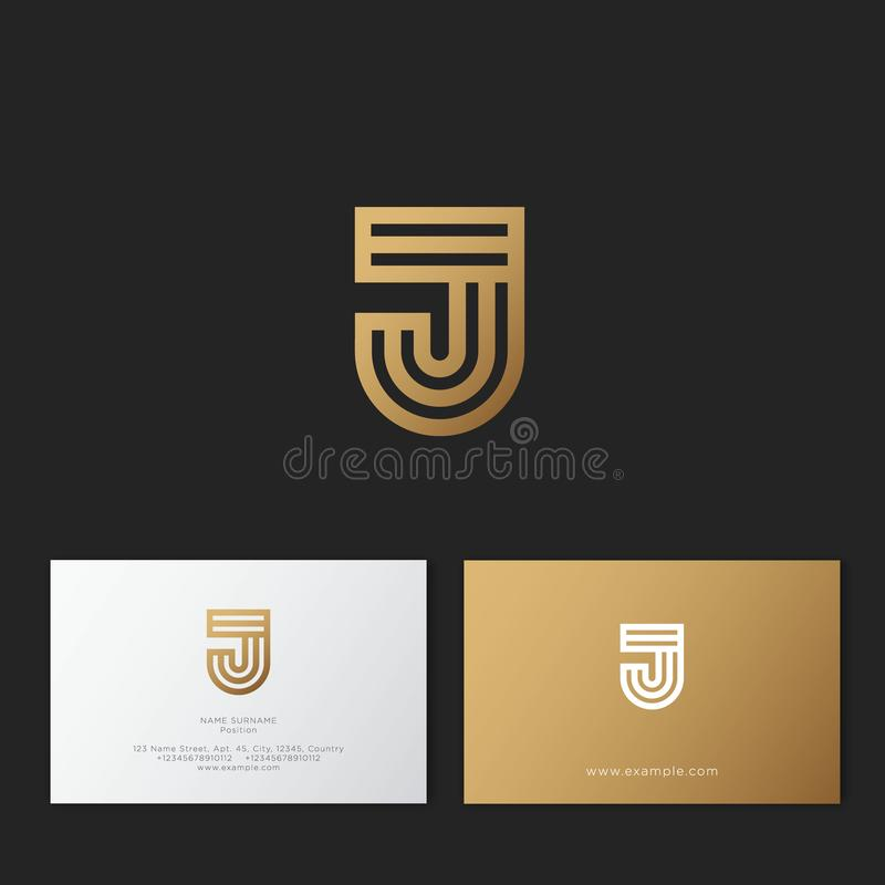 J letter. J linear logo. G gold monogram, isolated on a dark background. vector illustration