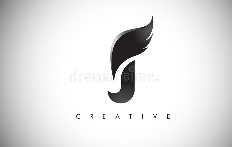 Download J Letter Wings Logo Design With Black Bird Fly Wing Icon Stock Vector