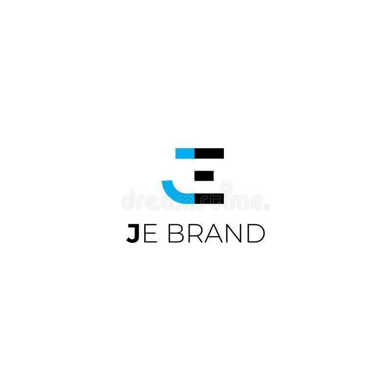 J logo för e-bokstavsvektor royaltyfri illustrationer