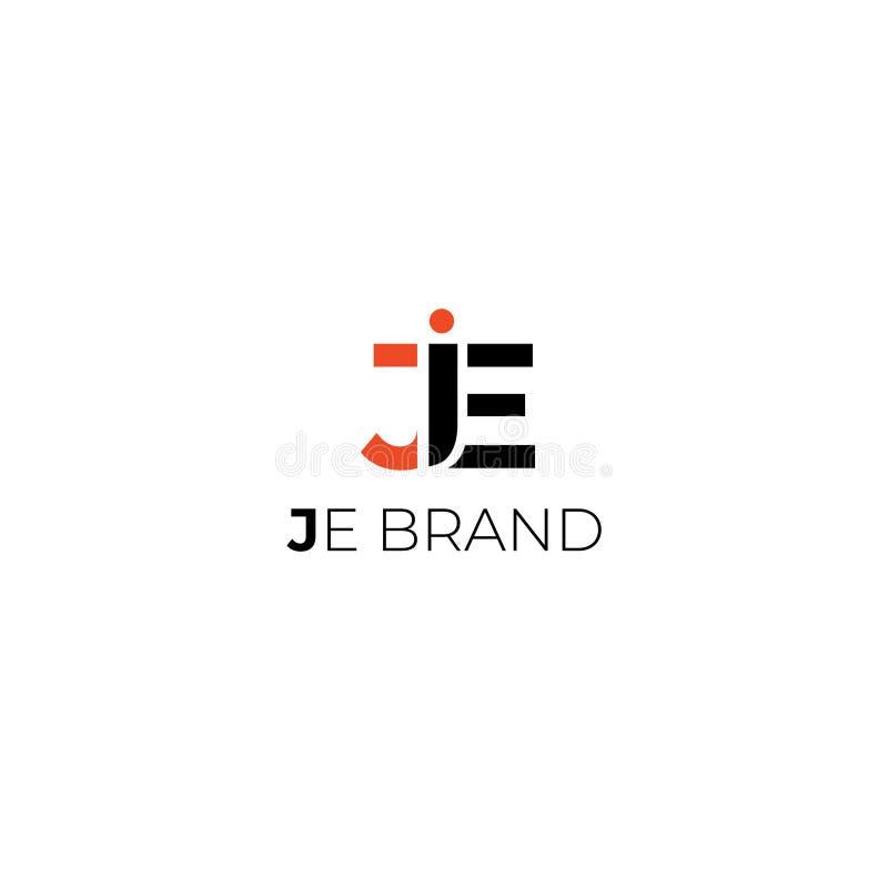 J logo för e-bokstavsvektor stock illustrationer