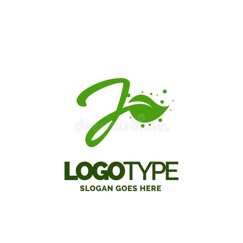 J logo with Leaf Element. Nature Leaf logo designs, Simple leaf. Logo symbol. Natural, eco food. Organic food badges in vector. Vector logos. Natural logos with vector illustration