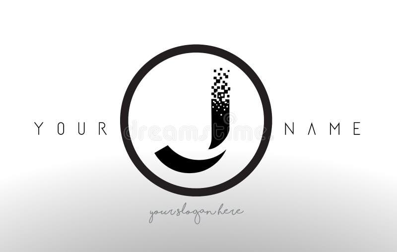 J Logo Letter avec le vecteur de conception de technologie de pixel de Digital illustration de vecteur