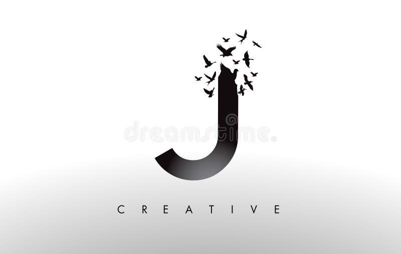 J Logo Letter con la multitud de los pájaros que vuelan y que se desintegran de ilustración del vector