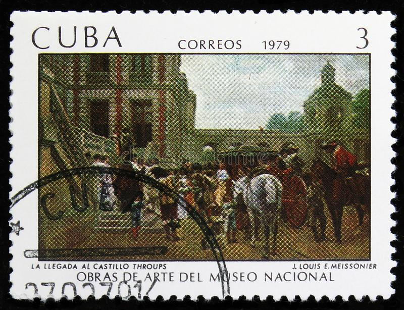 J. Louis E. Meissonier, Paintings from the National Museum serie, circa 1979. MOSCOW, RUSSIA - AUGUST 6, 2019: Postage stamp printed in Cuba shows J. Louis E royalty free stock images