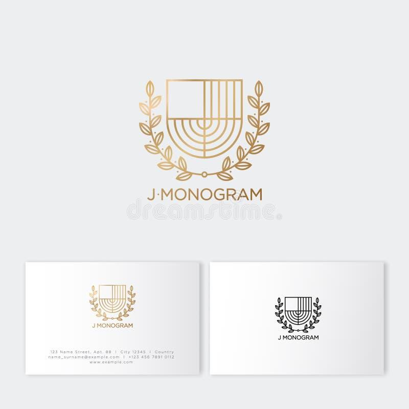J-Monogramm Buchstabe des Gold J wie Verkünderschild mit Lorbeerkranz Klassische Art stock abbildung
