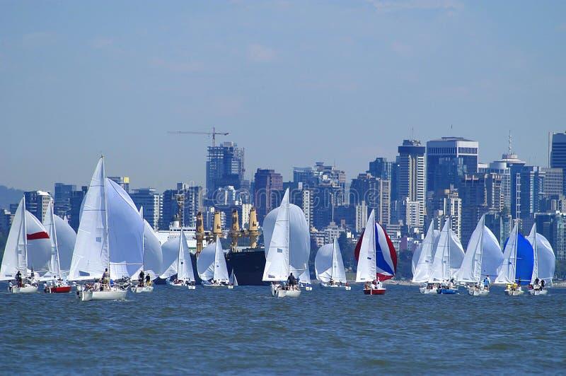 Sailboats Racing on English Bay. J/24 North American Championships, Vancouver, BC, Canada stock images