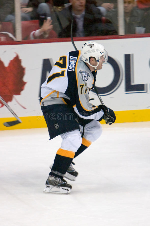 J.P. Dumont of the Nashville Predators. During a game at Joe Louis Arena during the 2006 season royalty free stock photos