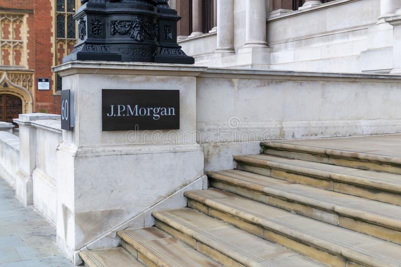 The J.P.Morgan sign logo on a building in London financial district. An American investment bank and financial services company. London Sepember 2019, jp stock photography