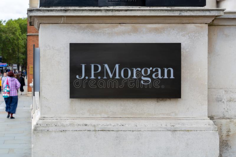 The J.P.Morgan sign logo on a building in London financial district. An American investment bank and financial services company. London Sepember 2019, jp royalty free stock images