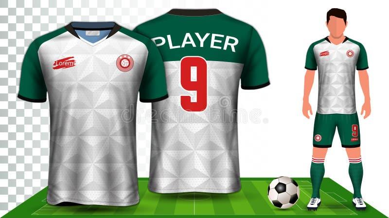 J?rsei de futebol e futebol Kit Presentation Mockup Template, parte dianteira e vista traseira que incluem o uniforme do Sportswe ilustração royalty free