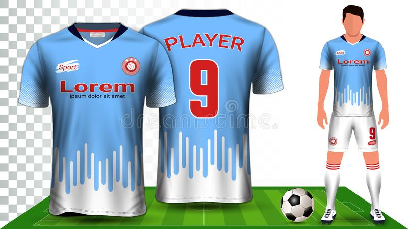 J?rsei de futebol e futebol Kit Presentation Mockup Template, parte dianteira e vista traseira que incluem o uniforme do Sportswe ilustração stock