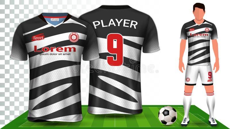J?rsei de futebol e futebol Kit Presentation Mockup Template, parte dianteira e vista traseira que incluem o uniforme do Sportswe ilustração do vetor