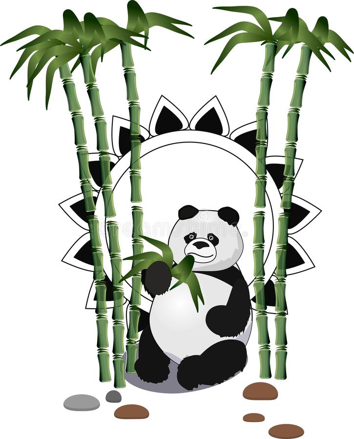 J?tte- panda som sitter och ?ter med bambuskogen i bakgrunden stock illustrationer
