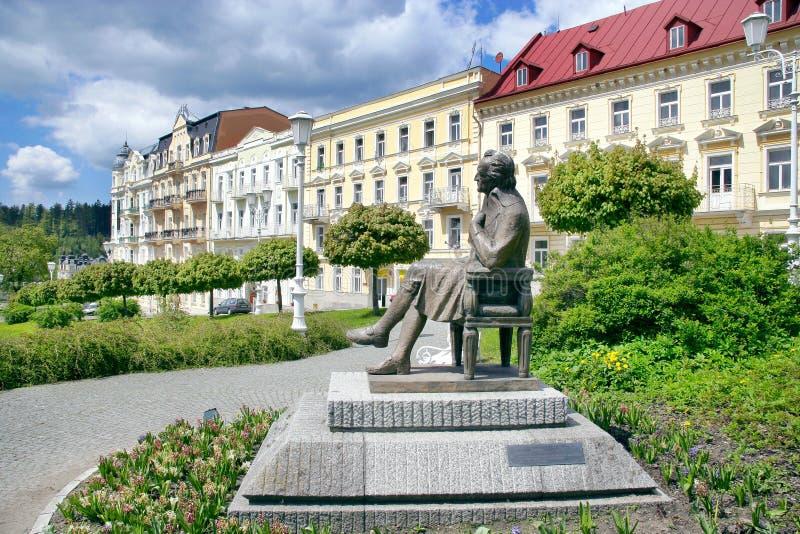 J W Goethestandbeeld, kuuroord Marianske lazne, Tsjechische republiek royalty-vrije stock fotografie