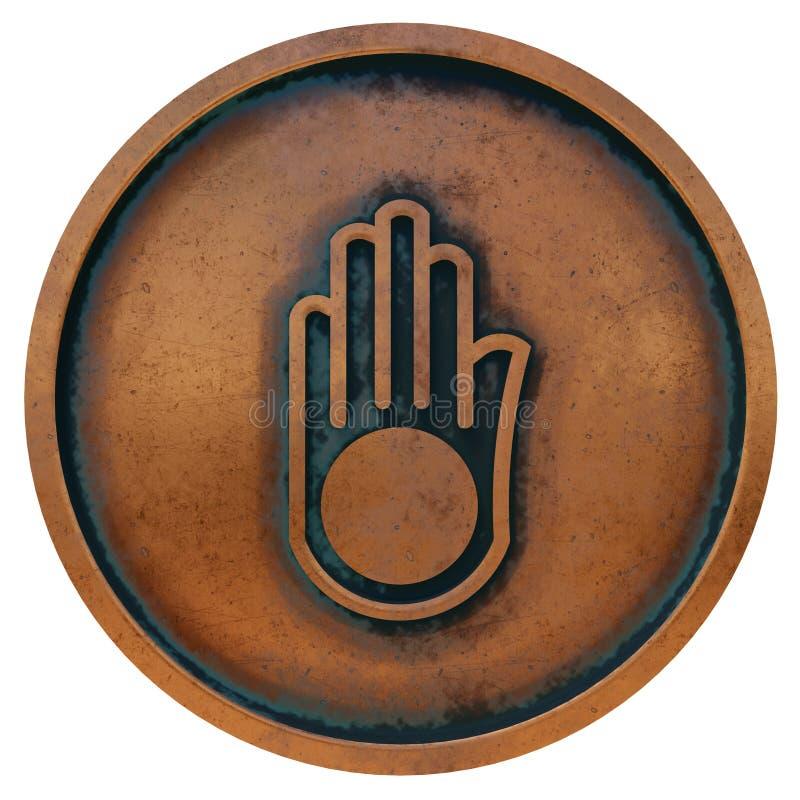 Jaïnismesymbool op het muntstuk van het kopermetaal stock fotografie