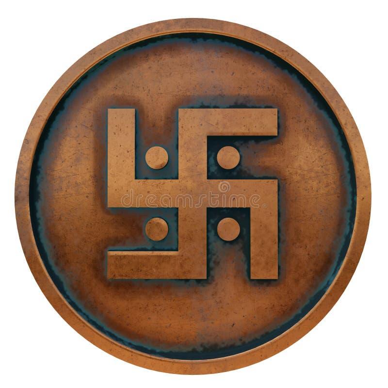 Jaïnismesymbool op het muntstuk van het kopermetaal stock foto's
