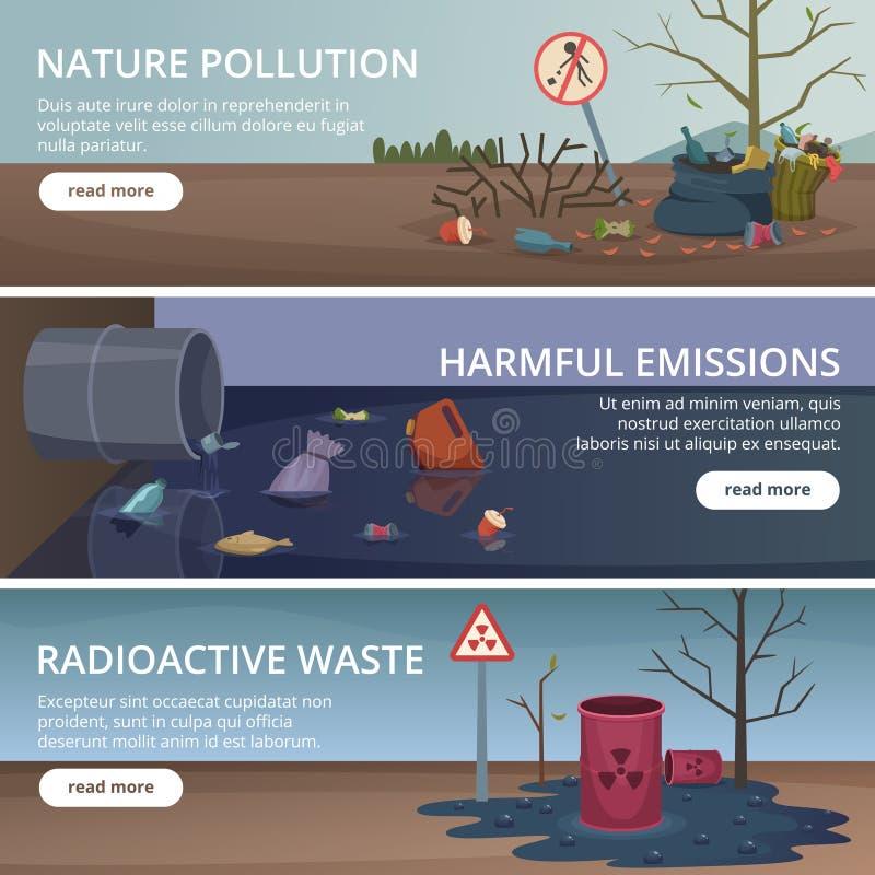 Jałowi natura sztandary Toksyczny grat w rzek i oceanów zanieczyszczenia fabrycznych problemów wektoru lotniczych obrazkach ilustracja wektor