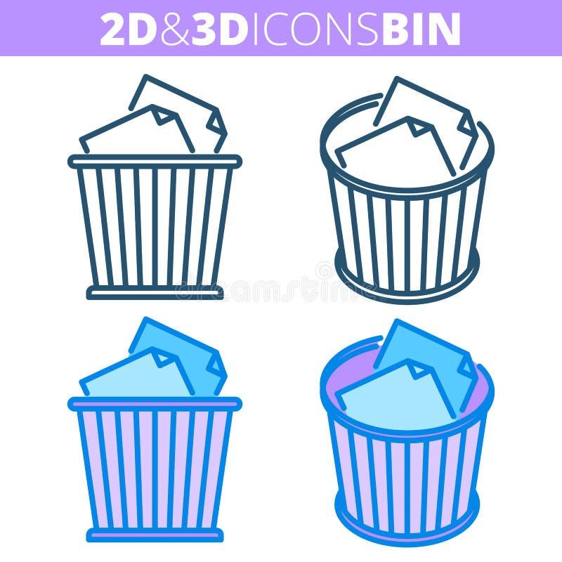 Jałowy kosz Płaski i isometric 3d konturu ikony set ilustracji
