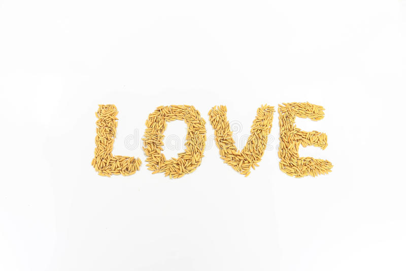 Jaśminowi ryż układający jak alphabetically kochają zdjęcia stock