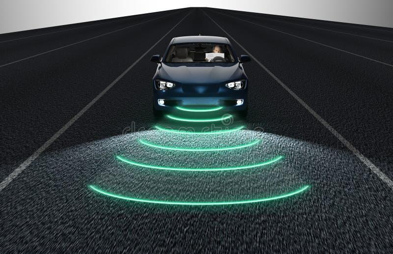 Jaźń jedzie elektronicznego komputeru samochód na drodze ilustracja wektor