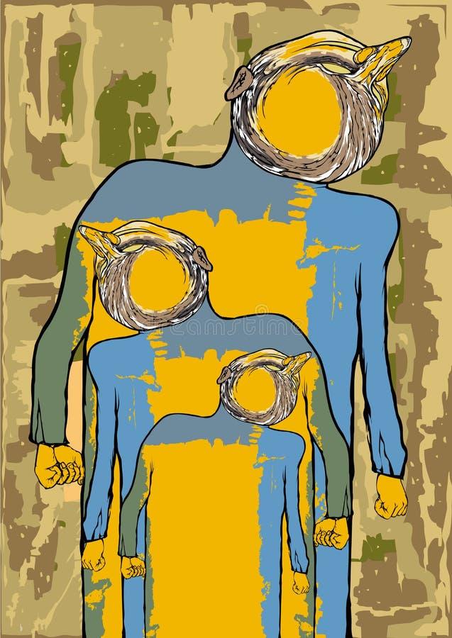 jaźń Plakat jest groteskowym wizerunkiem mężczyzna na grunge backgroun fotografia stock