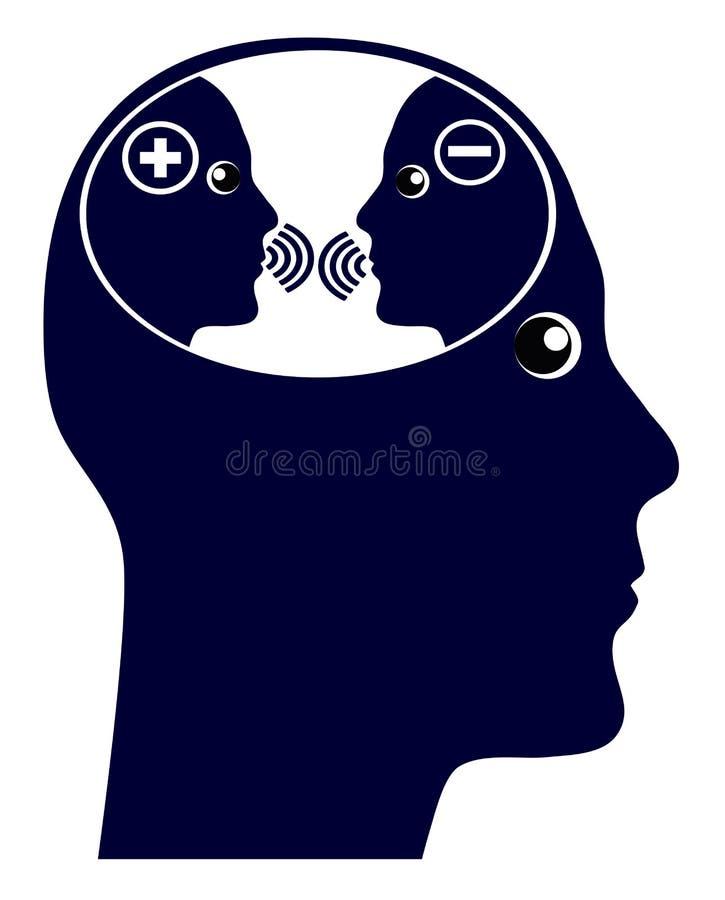 Jaźni rozmowa lub wewnętrzny głos ilustracja wektor