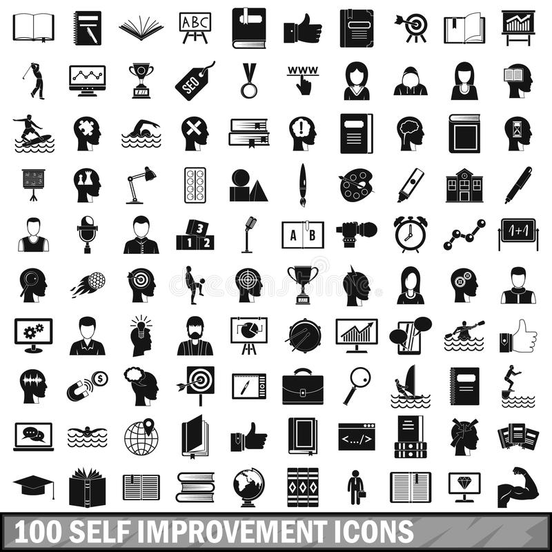 100 jaźni ulepszenia ikon ustawiających, prosty styl royalty ilustracja
