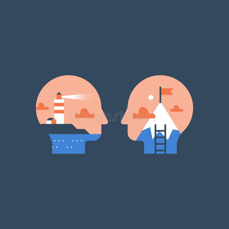 Jaźni wzrostowy mindset, dążenia pojęcie, pracy motywacja, kariery sposobność, potencjalny rozwój, następny równy wyzwanie ilustracji
