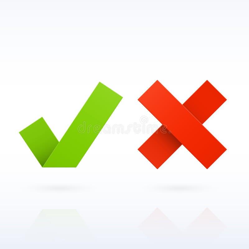 Ja eller inga pappers- kontrollfläckar stock illustrationer