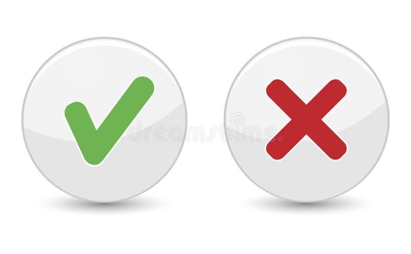 Ja eller ingen symbolsknapp royaltyfri illustrationer